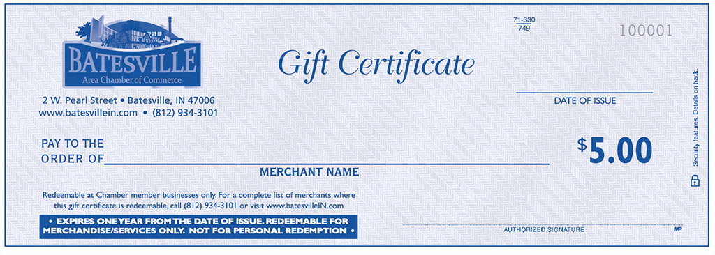 gift certificates batesville area chamber of commerce